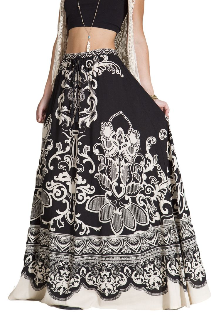 Womens Black & Ivory Floral Print Ethnic Long Full Length Boho Gypsy Maxi Skirt