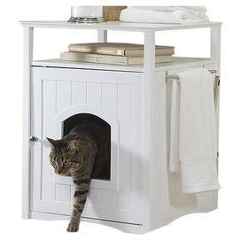 Perfect for your master bath or laundry room, this side table-style litter box enclosure showcases a towel bar and beadboard-inspired paneling for effortless appeal.