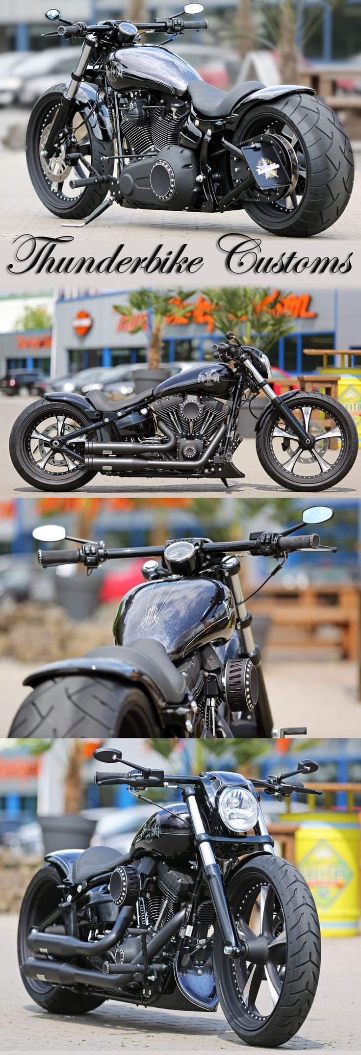 Customized Harley-Davidson Softail Breakout by Thunderbike. For this project we added a long list of our custom parts like the Lowrider wheels, rear-fender Kit, Air-Ride suspension, custom tank, forward controls and much more.