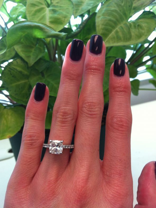 Pictures Of 1 Carat Cushion Cut Engagement Rings On Finger