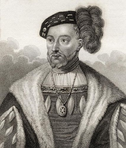 King James V of Scotland, son of Margaret Tudor, father of Mary, Queen of Scots - James V (c. 10 April 1512 – 14 December 1542) was King of Scots from 9 September 1513 until his premature death at the age of thirty, which followed the Scottish defeat at the Battle of Solway Moss. His only surviving legitimate child, Mary I, Queen of Scots, who succeeded him to the throne was just six days old at the time.