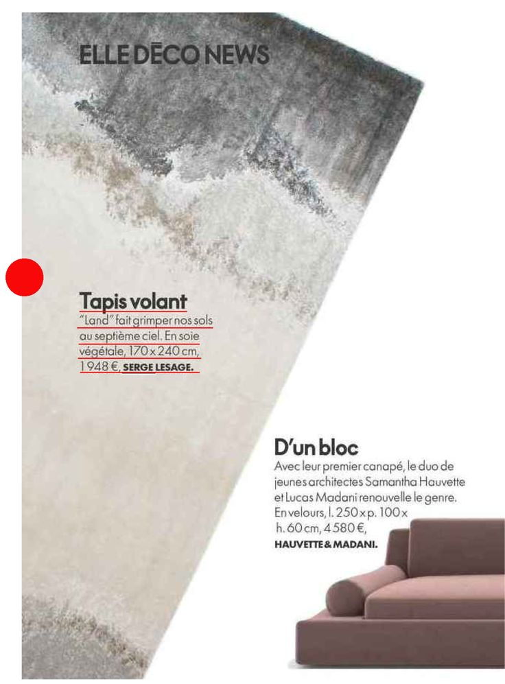 Thank you ELLE DECORATION for the staging of our rug, Land in your magazine! #sergelesage
