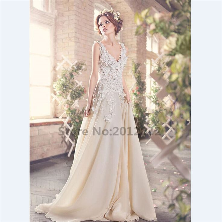 Champagne Bohemian Wedding Dresses A Line V Neck 3D Flowal Appliques Lace Plus Size Backless Bridal Gowns robe de mariage-in Wedding Dresses from Weddings & Events on Aliexpress.com | Alibaba Group