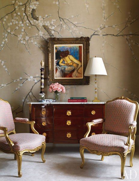 """""""A painting by Edgar Degas is set against a hand-painted wall covering by de Gournay in the master bedroom."""" Interior design by Michael S. Smith. Photo by Michael Mundy. Architectural Digest (November 2011)."""