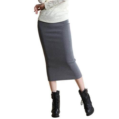 Stretch Slim Step Skirt Women Sexy Pencil Office Package Hip Skirts Mid Waist Mid-Calf Solid Skirt Casual Lady Skirts