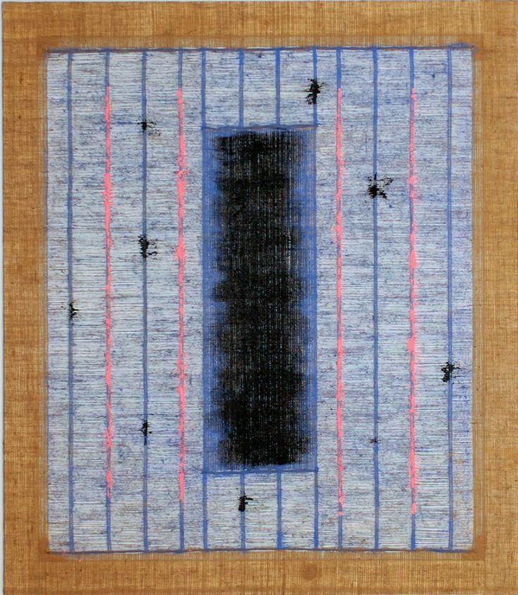 Salvatore Emblema, Untitled, 2004, tinted soil on de-threaded burlap, 59 x 51 1/4 in   150 x 130 cm #modern #art #transparency #arte #moderna #Painting #Italia #Italy