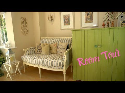 The color scheme is fresh yet muted. Room Tour Shabby Chic Lounge Relaxing Video Youtube In 2021 Shabby Chic Lounge Room Tour Room