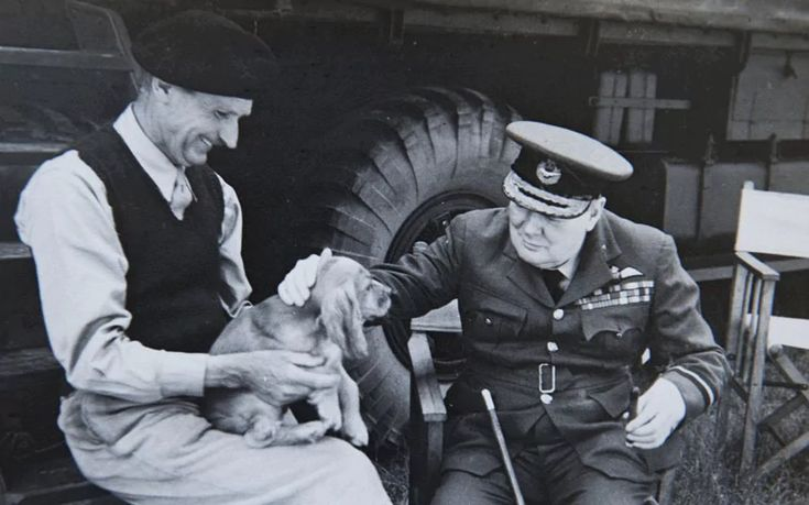 "General Bernard Montgomery and Winston Churchill play with Montgomery's dog ""Rommel"" 1944 [858x536]"