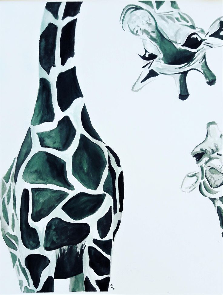Giraffes Watercolor Print, Silly Animal Wall Art, Rustic Home/Nursery Decor, Zoo Day