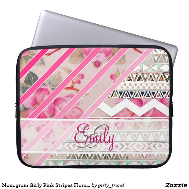 Monogram Girly Pink Stripes Floral Aztec Pattern Computer Sleeve