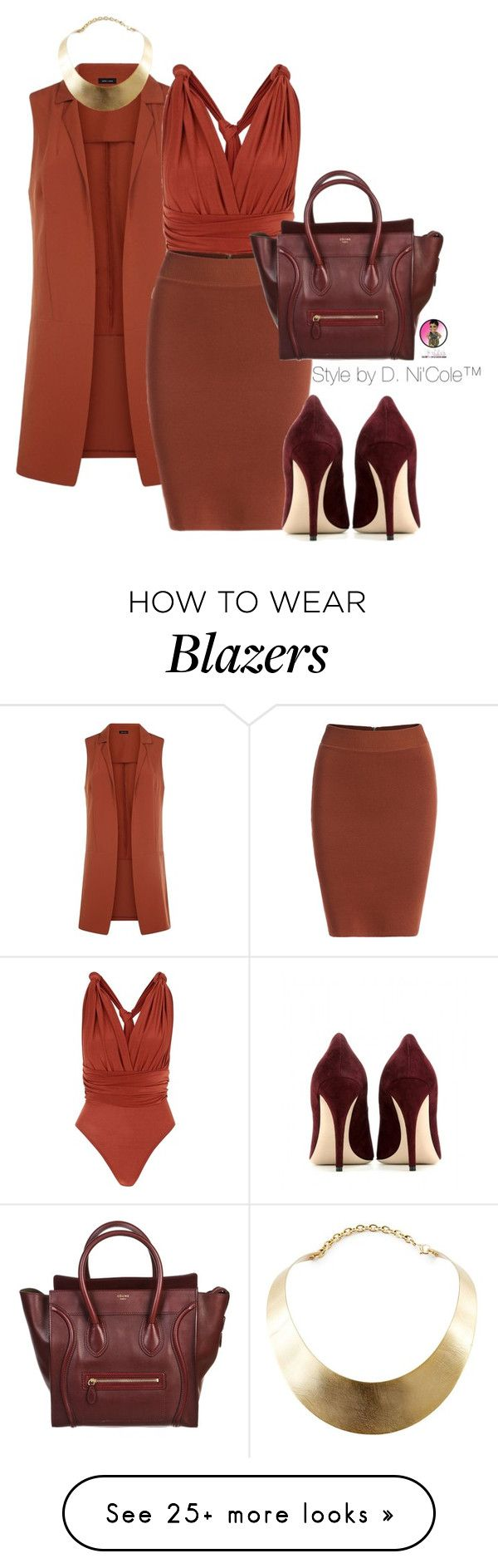 """Untitled #2850"" by stylebydnicole on Polyvore featuring CÉLINE, Miu Miu and GUESS"