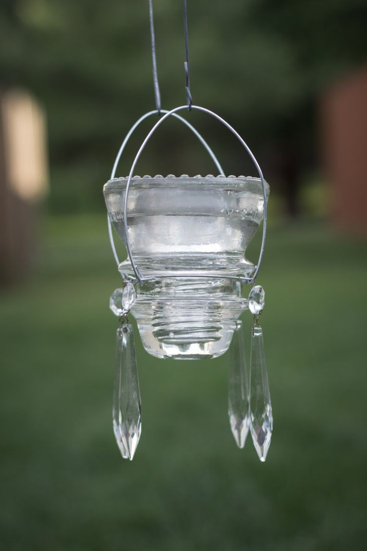 Glass Insulator Lantern with Solar Light by RRilluminatedDesigns, $30.00