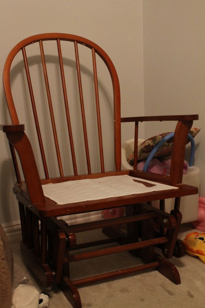 Glider Redo-- adding cushions to a glider-- making it look more like a chair and less like a glider.