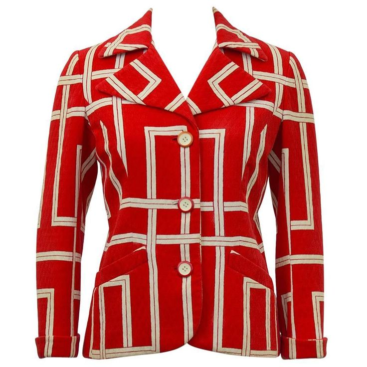 1970s Rudi Gernreich Orange and Cream Jacket  | From a collection of rare vintage jackets at https://www.1stdibs.com/fashion/clothing/jackets/