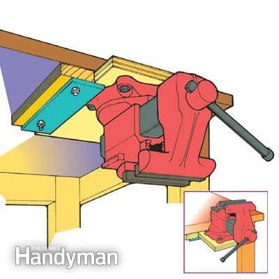 Bench-Top Tool Storage Tip - Here's a smart way to keep a vise or small bench-top tool right at your fingertips without cluttering your workbench: Build this slide-in base and mount the vise or tool on it so the entire unit can slide back in upside down and out of the way. Countersink holes into the underside of the base so you can recess the mounting nuts and washers.