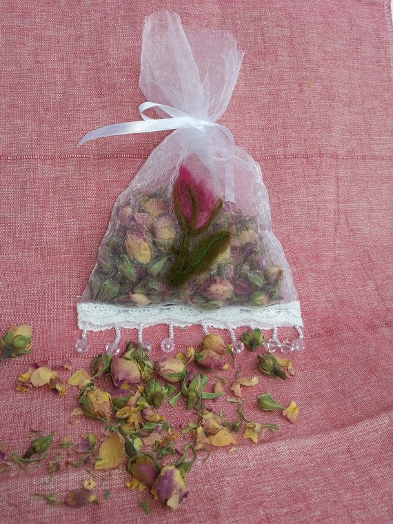 Decorative Organza Sachet, with Needle felted Rosebud and filled with scented Rosebuds