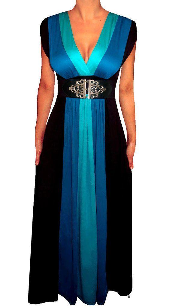 fd0c96c68e43 Plus Size Clothing Black Color Block Long Maxi Women's Plus Size ...