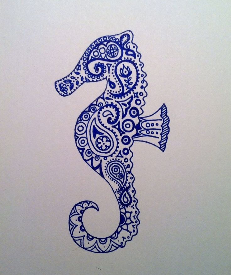 Seahorse paisley tattoo - eeekkk I really can't wait to get my seahorses on my hips. I regret not having them done by now.
