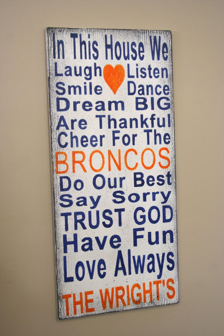 Family Rules Sign Broncos Team Sign Fathers Day Gift Mancave Bridal Shower Gift Wedding Gift Housewarming Gift Distressed Wood