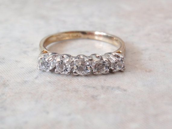rhinestone two tone ring 14kt ge espo size 6 34 by cutterstone - Lost Wedding Ring