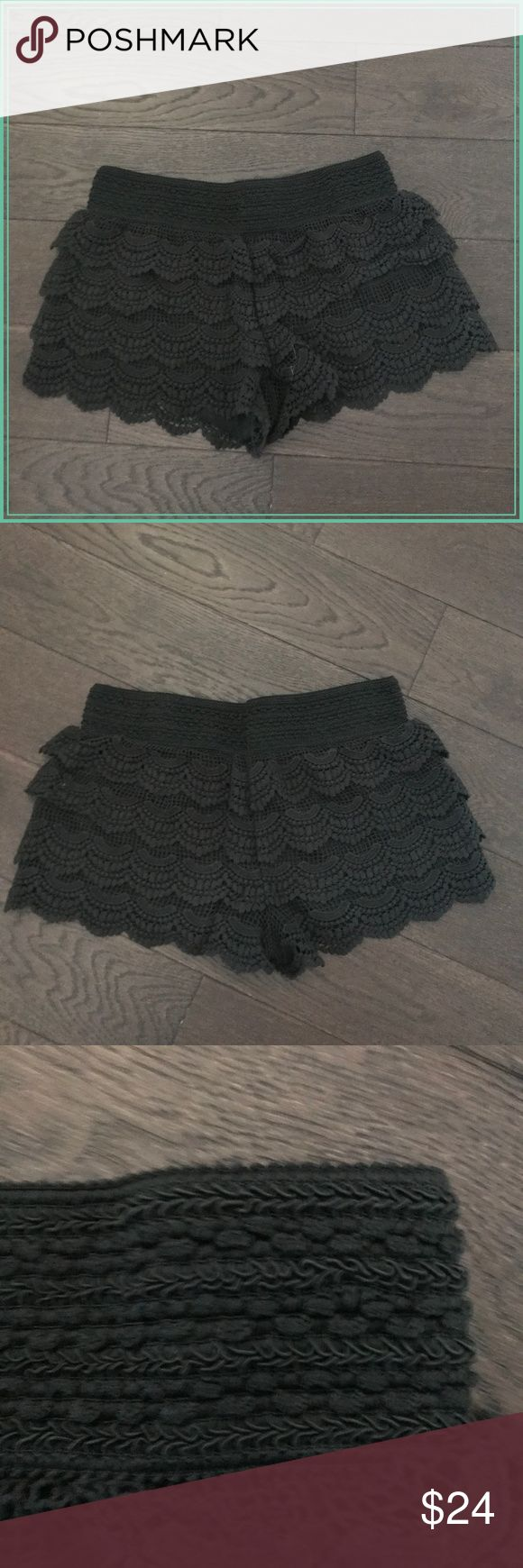 """Jolt Black Lace Crochet Shorts Size M Cute and trendy black crochet shorts, these looks great on just about any age and body type Fully lined, very stretchy waist (fits me as a size 6/8 comfortably) Measurements: waist 14"""" (elastic band), length 11"""" **Please read first 2 comments** Jolt Shorts"""