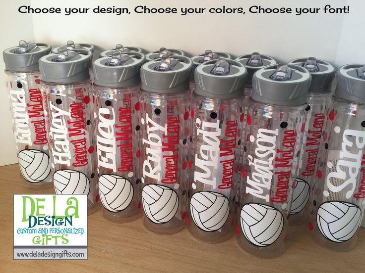 Personalized Sports theme Tumbler or Sport Bottle, Name, Volleyball or other sport or activity and polka dot design