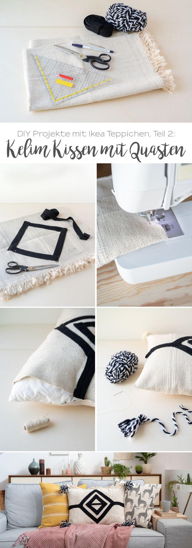 DIY Projekte mit Teppichen: Kelim Kissen mit Quasten
