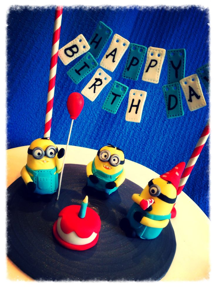 3X Minions Birthday Cake Topper set with Bunting, Fondant Mini Cake, Fondant Balloon with pole and Two Paper Straw Flag Poles by SerasCakeArt on Etsy