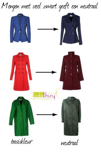 Ook een basiskleur kun je als een neutraal gebruiken. Voor de diepe kleurtypes meng je een basiskleur uit je kleurenpalet in gedachten met veel zwart. Lees mijn blog als je meer wilt weten |www.lidathiry.nl|
