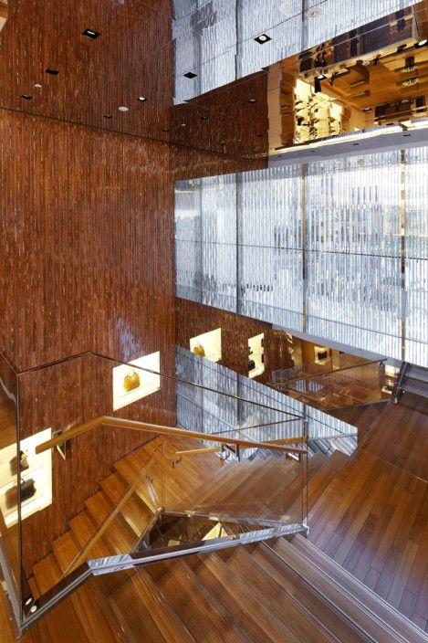 Beautiful use of wood and glass.  LOUIS VUITTON Fukuoka, designed by AOKI Jun, Japan