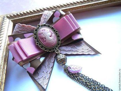 Купить Брошь Пыльная роза. - розовый, брошь, брошь из репсовых лент, текстильная брошь