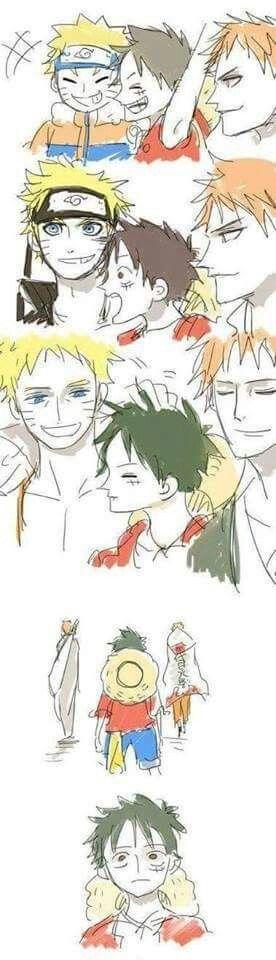 Luffy... || Naruto || Ichigo || Bleach || One Piece || Anime Crossover