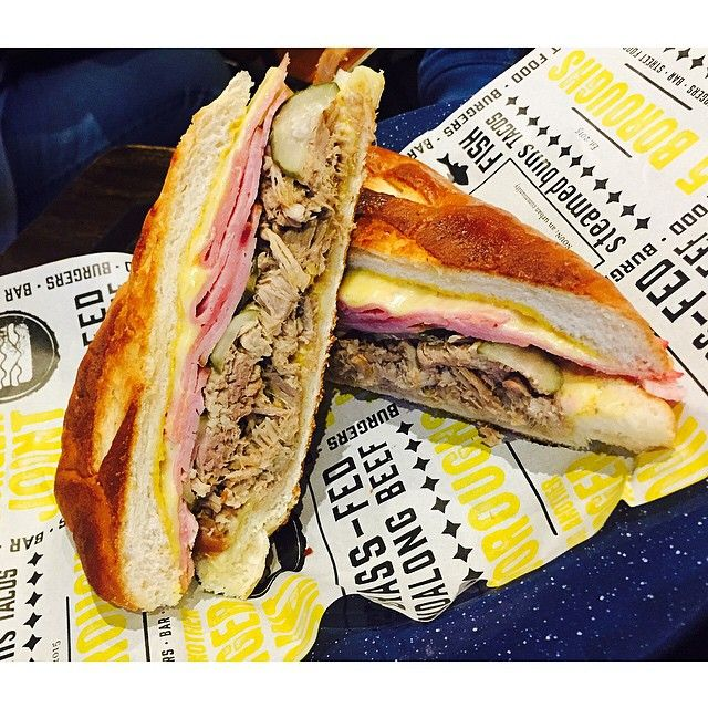 southeast_eats   The Cuban front sandwich @5boroughsbne  Leg ham, slow cooked pork, double cheese, dill pickles & american mustard #5boroughs (food, american)   follow us on instagram! @southeast_eats