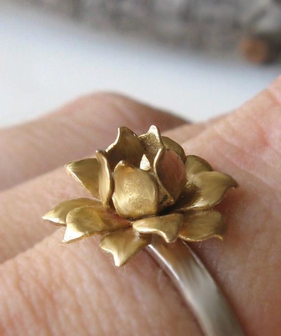 Golden Lotus Ring  Vintage Brass and Sterling  by Bijoutiful