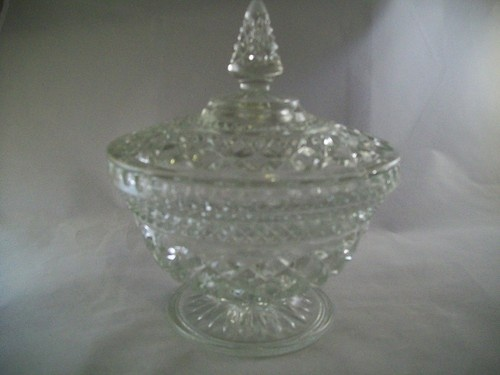 FOSTORIA AMERICAN HEX FOOTED CANDY DISH WITH LID**CLEAR ...