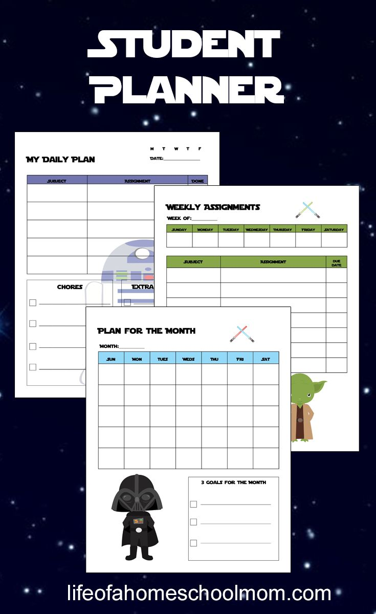 Help your children learn to manage their time with a planner with this fun Star Wars-themed Student Planner!