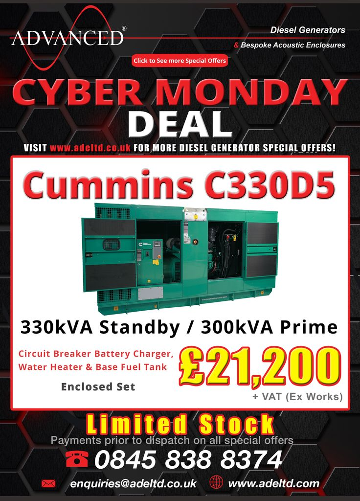 The week of deals at Advanced Diesel draws to a close with our Cyber Monday deal … be sure to visit www.adeltd.co.uk for the UK's best Diesel Generator prices! http://www.www.www.adeltd.co.uk?utm_content=bufferee18c&utm_medium=social&utm_source=pinterest.com&utm_campaign=buffer Tel: +44 1977 658 100 enquiries@www.adeltd.co.uk #DieselGenerators #CyberMonday #Gensets #Farming #Agriculture #NUF