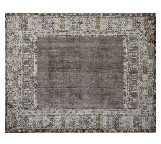 Diamond Basic Porcelain Blue Persian Style Wool Area Rug: Kaspar Printed Handloom Rug - Gray