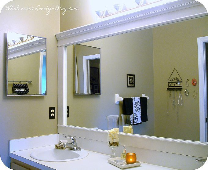 Amazing Bathroom Mirror Framed With Crown Molding