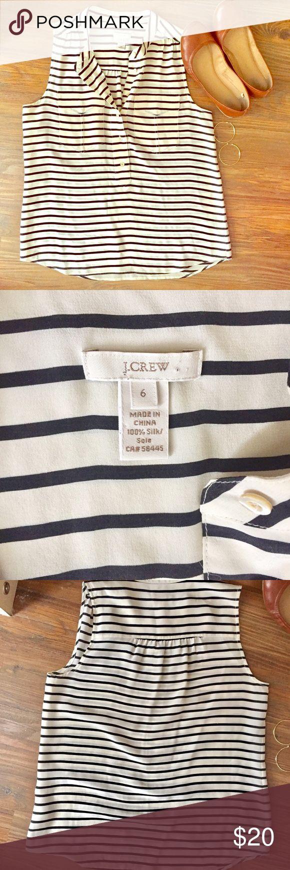 J.Crew Striped Tank Worn once. Black/cream striped tank. Cute button and pocket detailing. 100% silk. J. Crew Tops Tank Tops