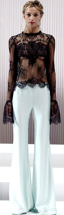 wes gordon romantic black sheer top with lace deatil & white flared pants - spring 2013.