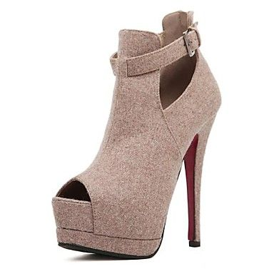 Salto agulha de camurça das mulheres do salto Peep Toe Sandálias Sapatos com fivela / Zipper (mais cores) – BRL R$ 73,90