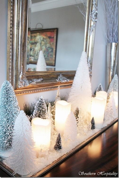 Collections of trees-bottle brush trees & candles...love this. Southern Hospitality blog