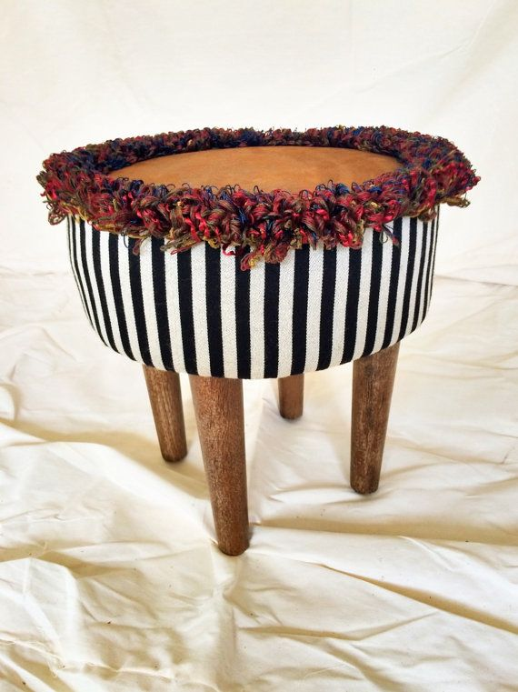 SOLD!  Ottoman redone funky