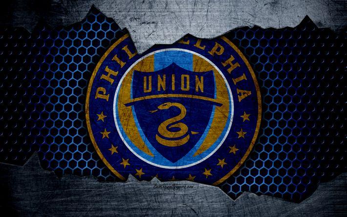 تحميل خلفيات فيلادلفيا يونيون, 4k, شعار, MLS, كرة القدم, الشرقي, نادي كرة القدم, الولايات المتحدة الأمريكية, الجرونج, الملمس المعدني, فيلادلفيا يونيون FC