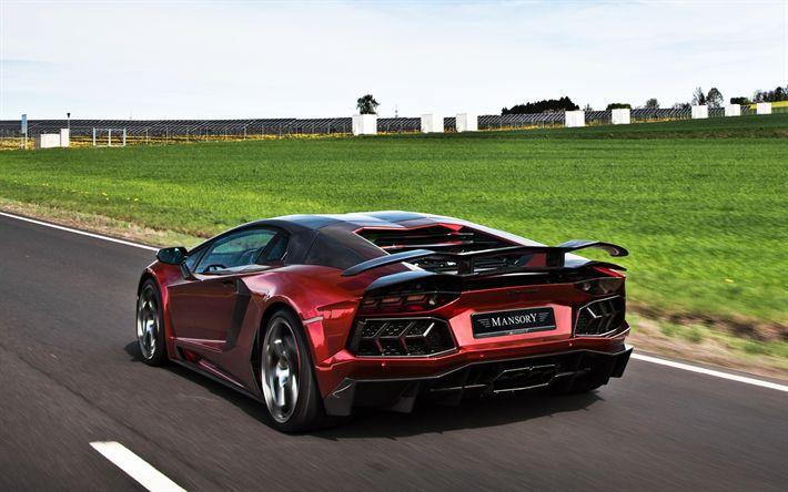 Lataa kuva Lamborghini Aventador, Mansory, Takaisin näkymä, superauto, viininpunainen, Aventador tuning, Italian urheiluautoja, Lamborghini