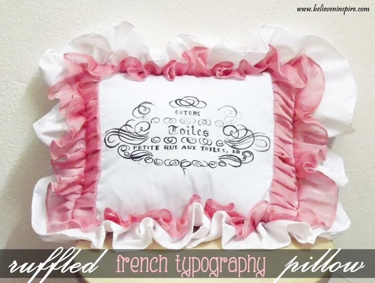 ruffled french typograph pillow