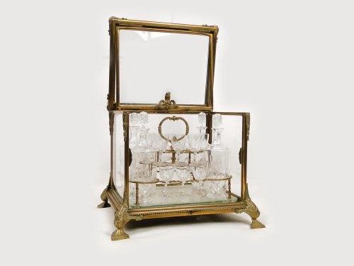 Cave à liqueur Napoléon III en cristal de Baccarat et bronze doré