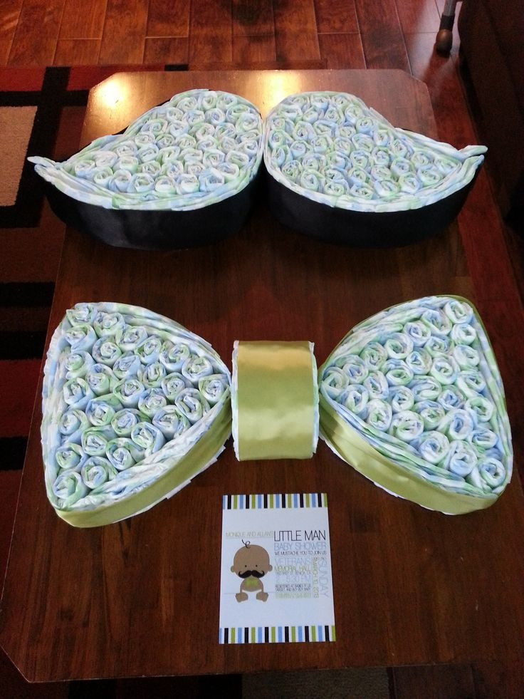 Mustache and bow tie diaper cake the creative ideas ppl can make! Cute