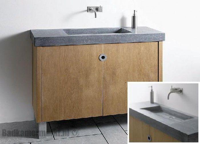 Wastafelmeubel met betonnen wasbak badkamer pinterest for Zelf maken badkamermeubel